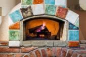 Fire in professional  Italian stylepizza oven — Stock Photo