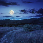 Valley in mountains  on hillside under sky with clouds at night — Stock Photo