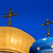 Domes of the Orthodox church with crosses — Stock Photo #53706527