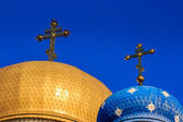 Domes of the Orthodox church with crosses — Stock Photo