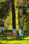 Old city park with lantern — Stock Photo
