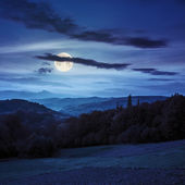 Village on hillside behind forest in mountainl at night  — Stock Photo