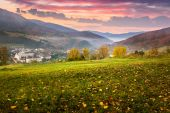 Village on hillside meadow with forest in mountain at sunrise — Stock Photo