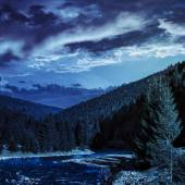 Forest river in mountains at night — 图库照片