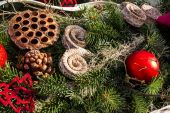 Christmas background with toys on fir tree — Stock Photo