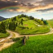 Cross road on hillside meadow in mountain at sunrise — Stock Photo #61254463