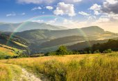 Path on hillside meadow in mountain at sunrise — Stock Photo