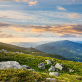 Mountain hillside with white boulders — Стоковое фото