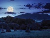 Agriculture field in mountains at night — Stock Photo