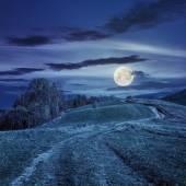 путь на склоне луг в горах ночью — Стоковое фото