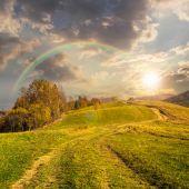 путь на лугу на склоне горы на закате — Стоковое фото