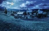 Monastery on the hillside at night — Stock Photo