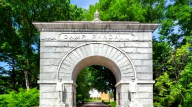 Historic Arched Entry to Camp Randall Stadium — Stock Video