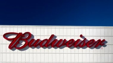 Budweiser Brewery Exterior and Sign — Stock Video