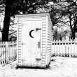 Vintage Rural Outhouse in Black in White in Winter — Stock Photo #63249047