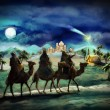 The illustration of the holy family and three kings — Stock Photo #53411157