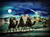 Die abbildung der heiligen familie und drei könige — Stockfoto