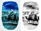 The illustration of the holy family and three kings — Stock Photo