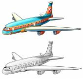 Coloring page - airliner — Stock Photo