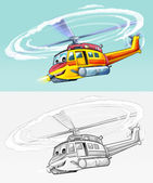 Coloring page - helicopter — Stock Photo