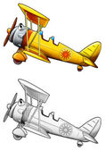 Coloring page - biplane — Stock Photo