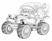 Coloring page - christmas car — Stock Photo