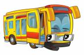 Happy cartoon - bus - caricature — Stock Photo