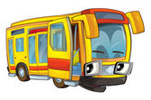 Happy cartoon - bus - caricature — Foto de Stock