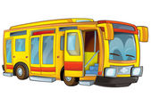 Happy cartoon bus — Stock Photo