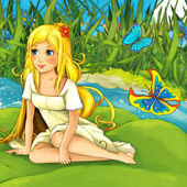 Cartoon fairy tale scene — Stock Photo