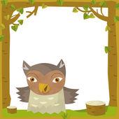 Owl in Cartoon frame — Stock Photo