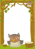 Owl in nature frame — Stock Photo