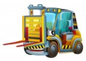 Cartoon car - forklift — Stock Photo