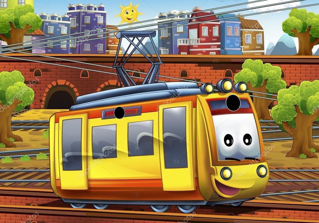 Tramway de dessin anim la station photographie illustrator hft 70144999 - Dessin tramway ...