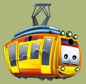 Cartoon tram illustration — Stock Photo
