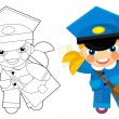 Постер, плакат: Postman girl with coloring page