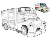 Cartoon ambulance - caricature — Stock Photo
