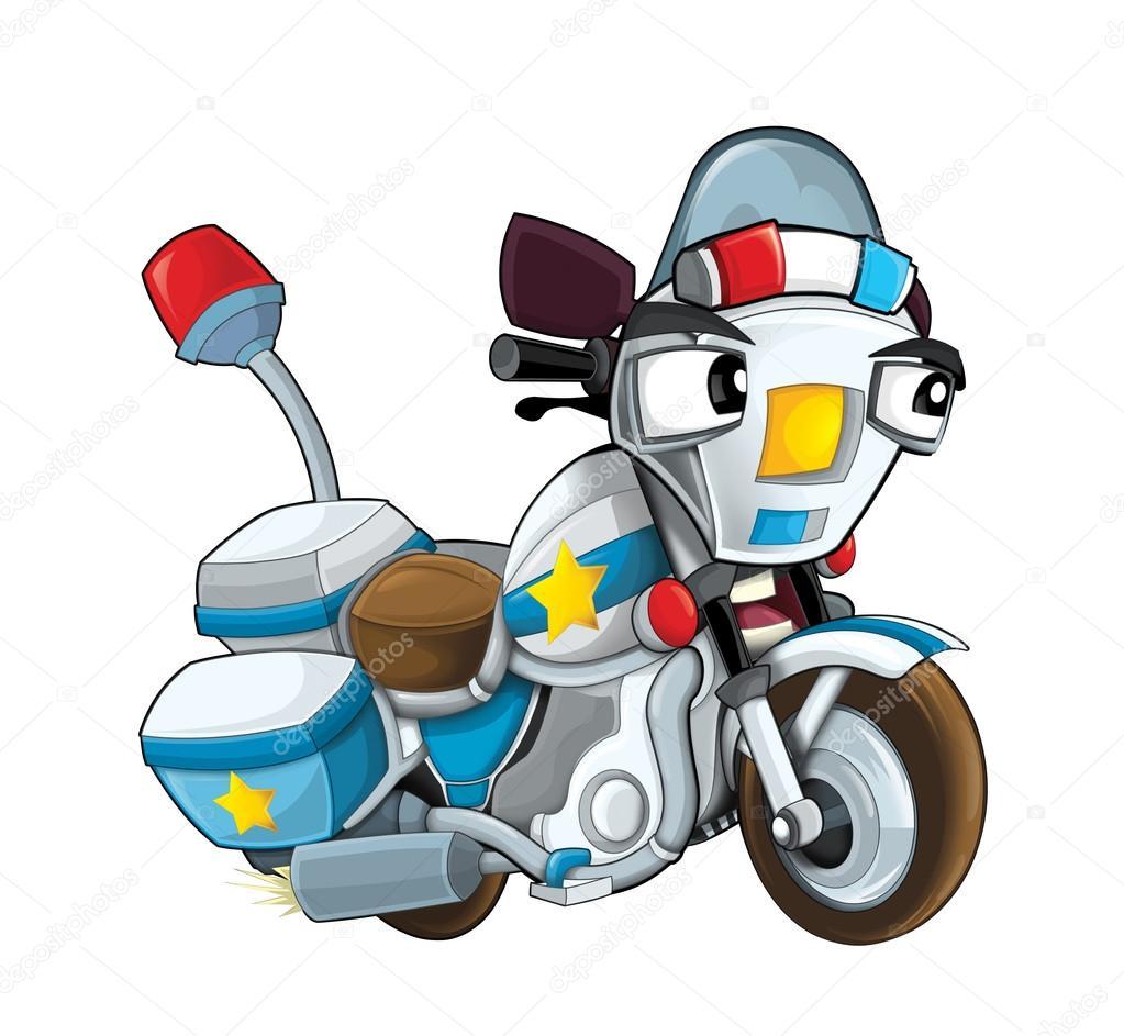 Cartoon police motorcycle — Stock Photo © illustrator_hft #74683559