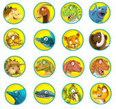 Cartoon set of buttons with dinosaurs — Stock Photo