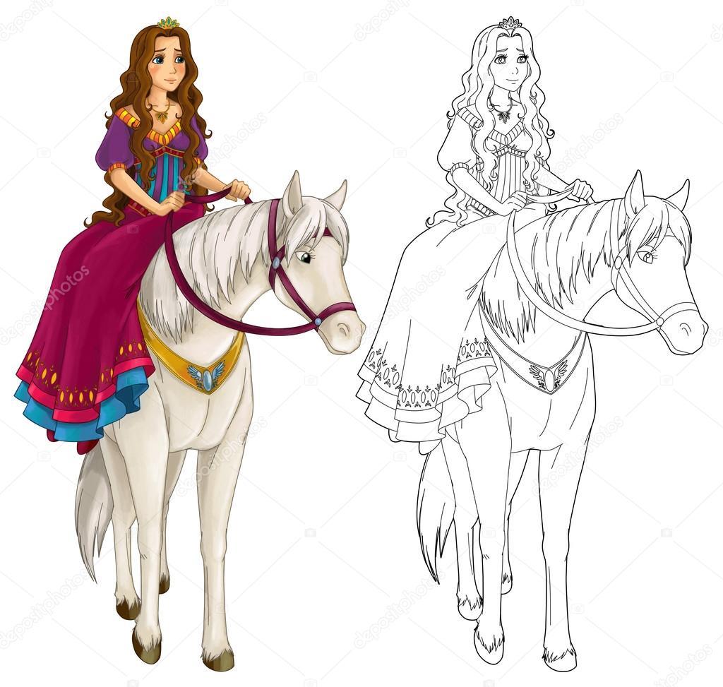 Mujer medieval de dibujos animados sobre un caballo ...