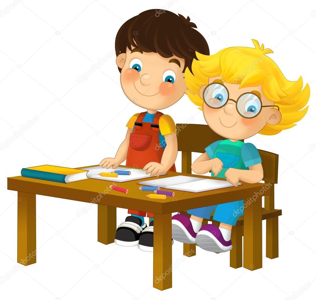 Niños De Dibujos Animados En El Escritorio De La Escuela