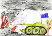 Tank krieg-schlacht. kind zeichnen. — Stockfoto
