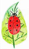 Ladybug on leaf. child drawing. — Stock Photo