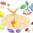 Set of fruits and vegetables. childlike drawing. — Stock Photo #54354167