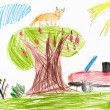 Red car on a glade. children drawing — Stock Photo #54354529