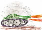 Tank in war battle. child drawing. — Stock Photo