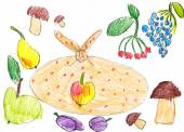 Set of fruits and vegetables. childlike drawing. — Stock Photo