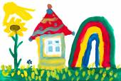 Home on meadow and rainbow. Childlike drawing. — Stock Photo