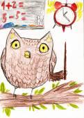 Owl teaches math. children drawing — Foto Stock