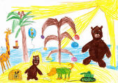 Animals celebrate the new year on a tropical beach. children drawing — ストック写真